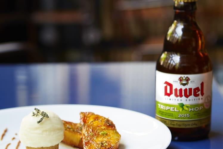 Sorbet à la bière Tripel Hop 2015, ananas caramélisé, financier