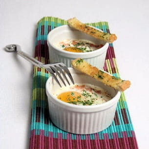 œufs cocotte saumon fumé et estragon
