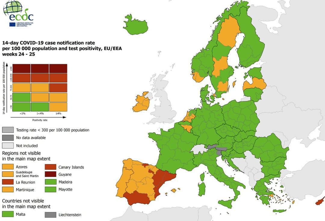 mapa europy covid