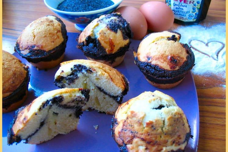 Muffins aux amandes, pavot et myrtilles