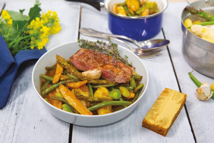 Carbonnade de légumes printaniers et agneau grillé
