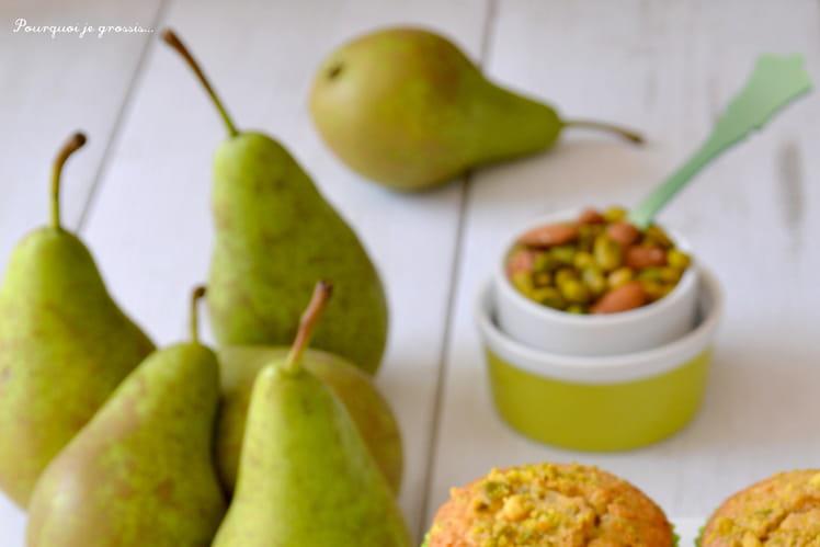 Muffins aux pistaches, au pralin & à la poire