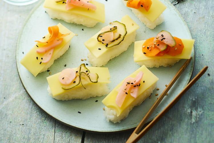 Sashimi de riz et lamelles d'Emmentaler AOP suisse