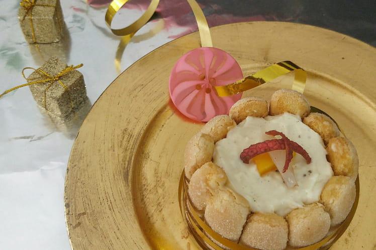 Charlotte de Noël au litchi, mangue et gingembre