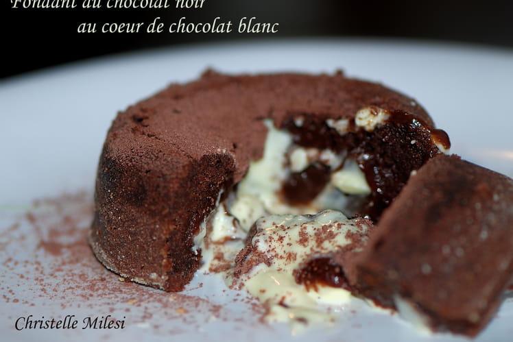 Fondant au chocolat noir au cœur de chocolat blanc