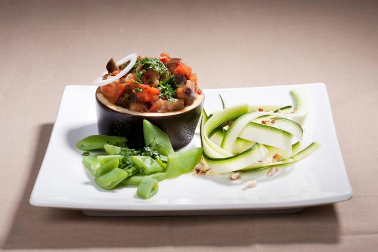 Salade à la turque  et ses tagliatelles de courgette