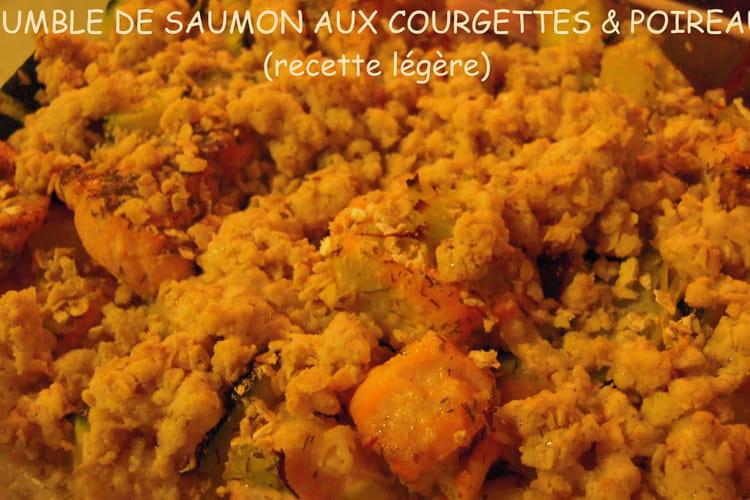 Saumon aux courgettes et poireaux, crumble aux flocons d'avoine