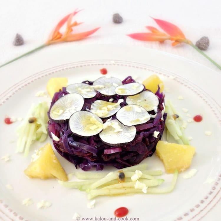 Recette de salade crue et cuite de chou rouge et radis - Cuisiner patisson blanc ...