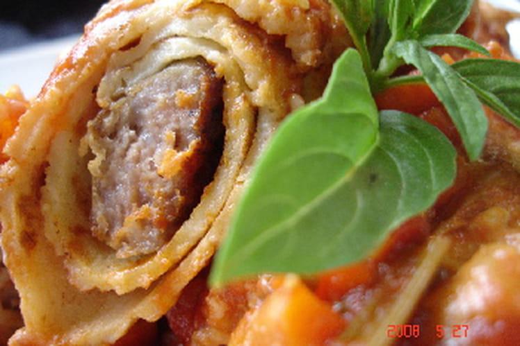 Cannellonis de crêpes aux saucisses