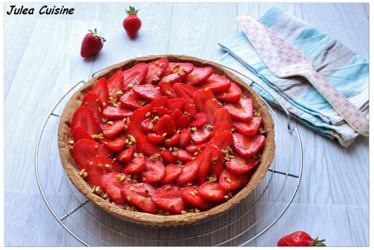 Tarte aux fraises et sa crème pâtissière à la vanille