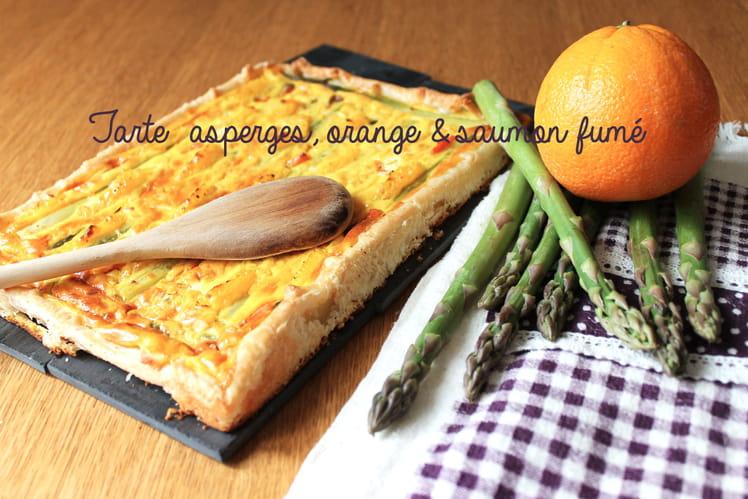 Tarte asperges, orange & saumon fumé