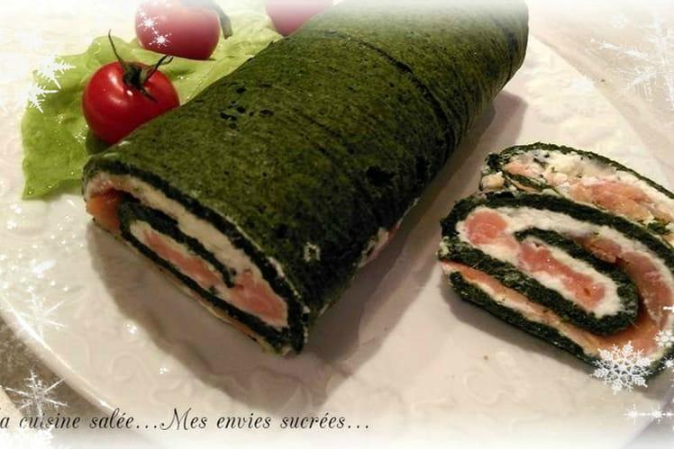 Gâteau roulé saumon - épinards