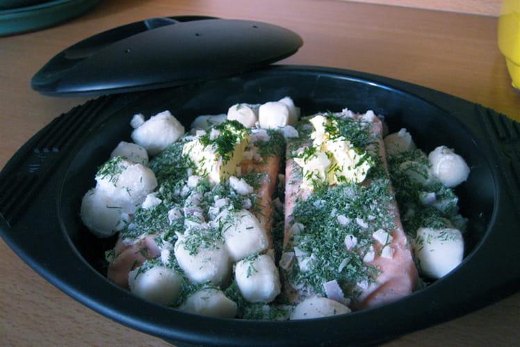 Escalopes de saumon et noix de pétoncles