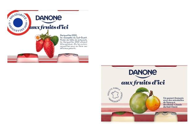 Les yaourts Danone aux fruits d'ici