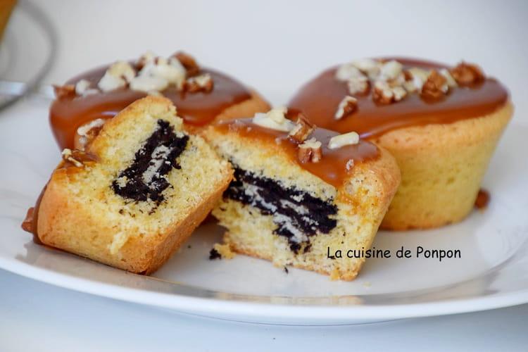 Muffin nappé de caramel et son coeur en oréo