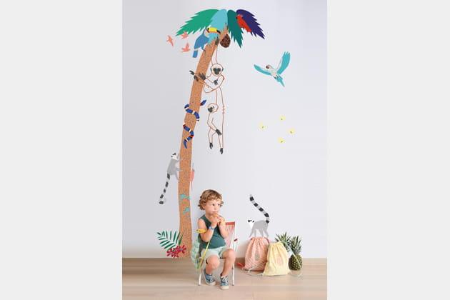 Un sticker enfant à imprimé jungle