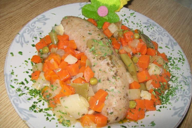 Saucisses de Toulouse aux petits légumes