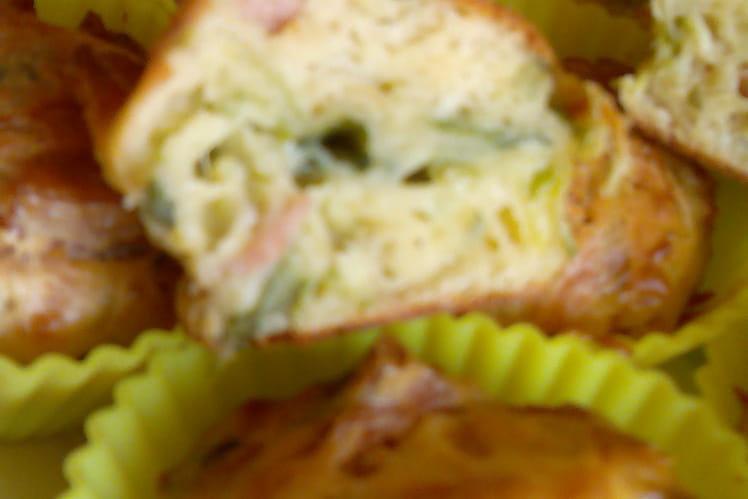 Muffins poireaux, jambon et emmental