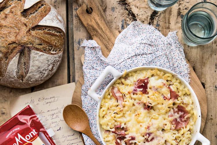 Coquillettes et crème de jambon à l'Emmental Tendre Meule Entremont