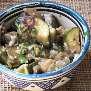 salade de courgettes et d'aubergines à l'orientale