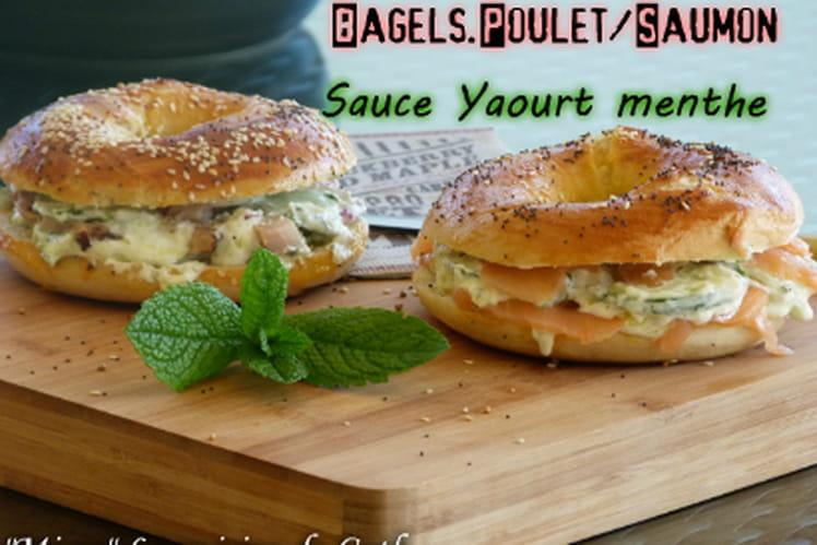 Bagels au poulet / au saumon et sauce yaourt menthe