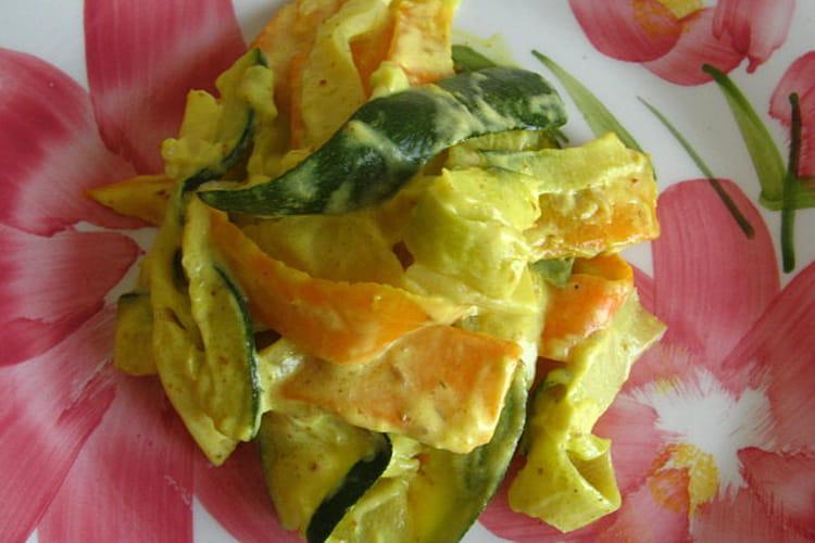 Tagliatelles de légumes à la crème et au curry