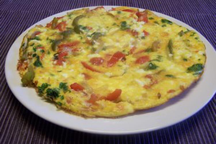 Omelette aux lardons, champignons et olives vertes