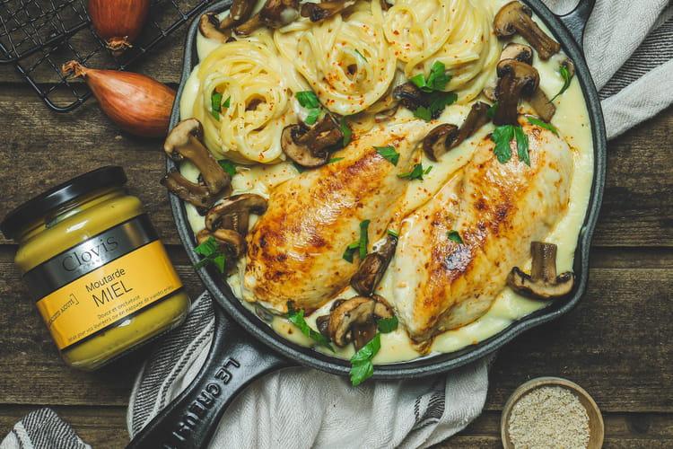 Escalopes de poulet à la suédoise, spaghetti et champignons