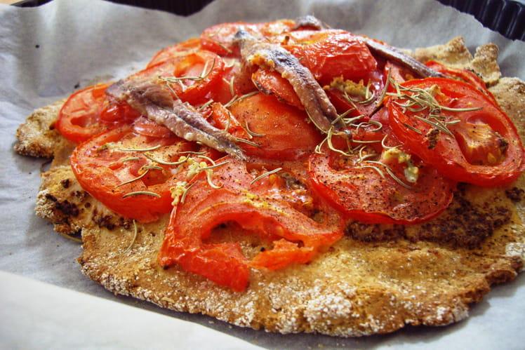 Tarte avoine-kamut à la tomate et aux anchois