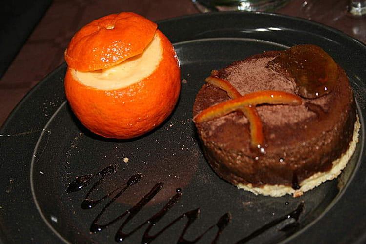 Crème de clementine et bavarois croustillant au chocolat