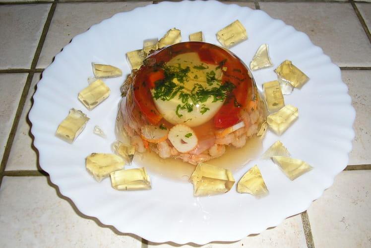 Aspic oeuf, jambon, crevettes