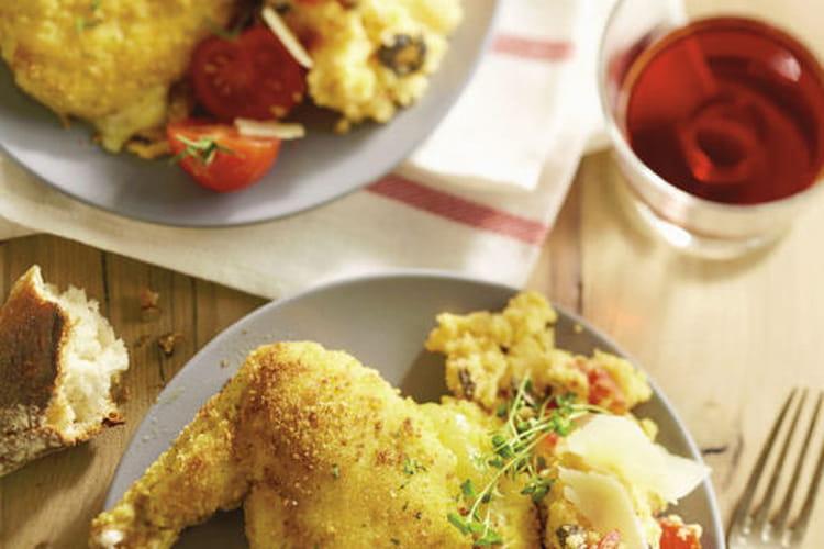 Cordons bleus de poulet fermier label rouge St Sever et polenta aux olives noires