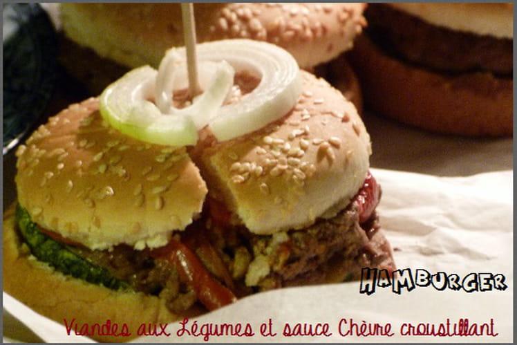 Hamburger viandes aux légumes et sauce chèvre croustillant