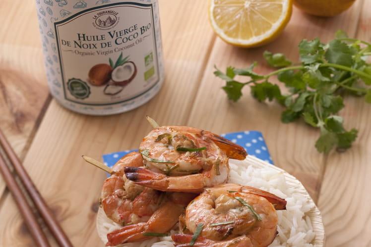 Brochettes de crevettes au gingembre, au citron et à l'Huile Vierge de Noix de Coco Bio La Tourangelle
