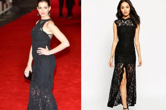 Anne Hathaway, une robe noire en dentelle