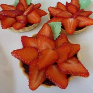 tarte au chocolat carpaccio de fraise