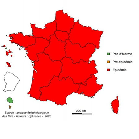 Carte de France des cas de bronchiolites