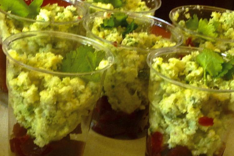 Verrines à la gelée de betteraves et mousse de chou-fleur aux herbes