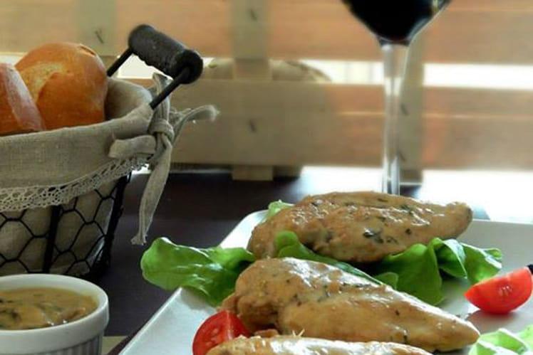 Filets de poulet, sauce crémeuse