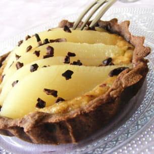 tartelettes choco-poire, crème de noisette et café