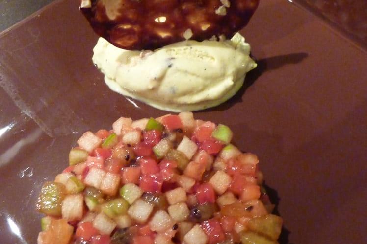 Brunoise de fruits glacé, tuile au carambar