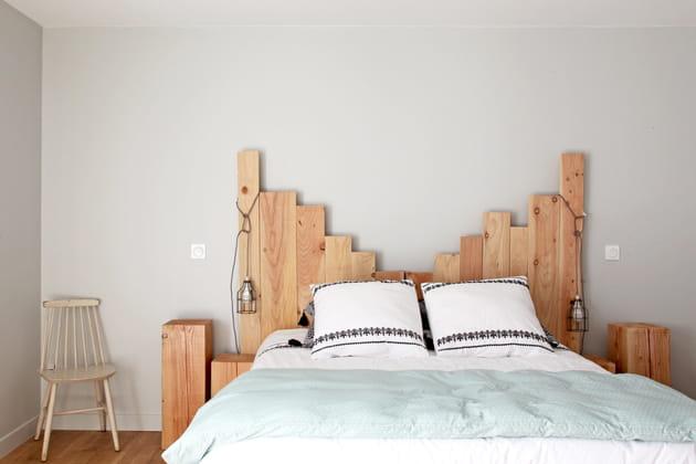 Tête de lit en bois graphique