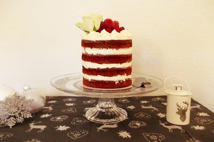 Gâteau red velvet naked cake aux framboises