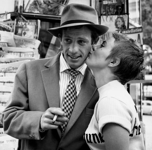 """Jean-Paul Belmondo et Jean Seberg, 1959""""A bout de souffle"""" de Jean-Luc Godard"""