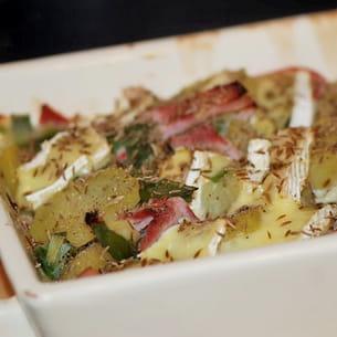 gratin de pommes de terre et poireaux au camembert