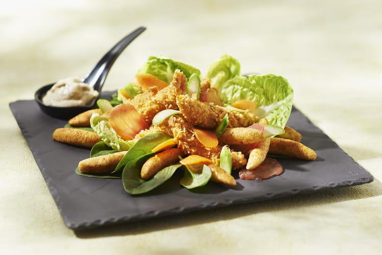 Salade césar aux mini quenelles et poulet croustillant
