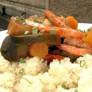 couscous de crevettes aux légumes