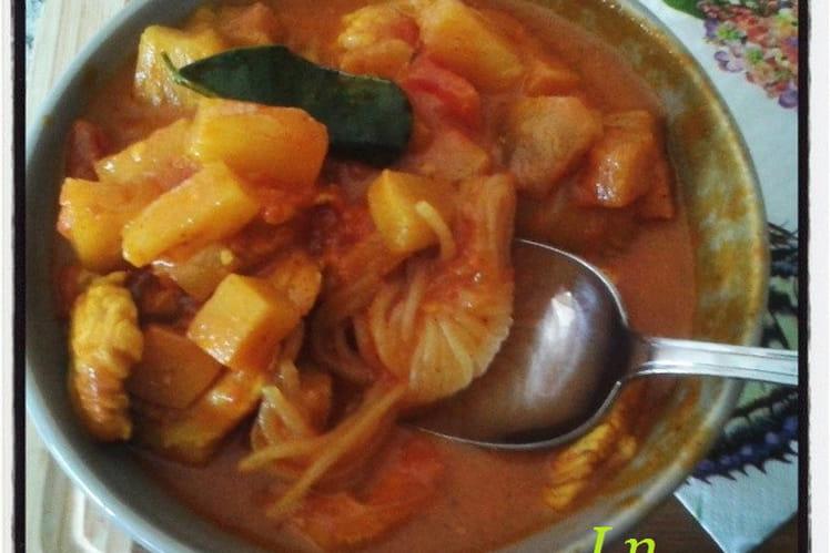 Shiratakis de konjac et dinde au curry