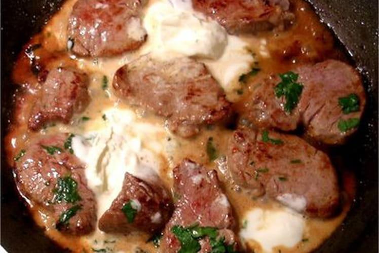 Rondelles de filet de veau, asperges caramélisées