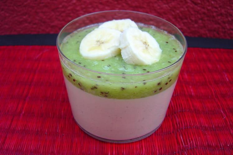 Crème au lait de coco kiwi et bananes